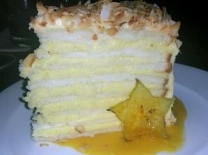 Coconut cake with layers of lemon frosting