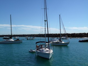Boaters enjoying Dana Point Harbor