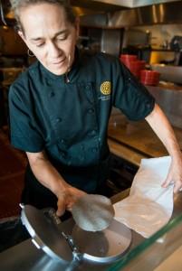 Chef Deb making masa