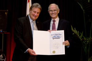 Mayor Ed Selich presents a special proclamation to Newport Beach Citizen of the Year Paul Watkins