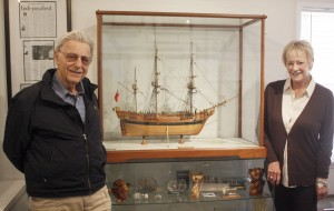 Model ship builder Henry Bikhazi with Balboa Island Museum president Shirley Pepys