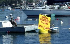 Site of the sunken barge in Newport Harbor
