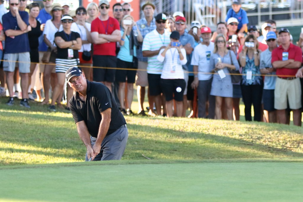 The gallery watches golfer Duffy Waldorf during the Toshiba Classic.