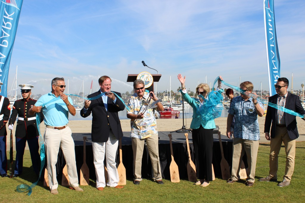 City Council members cut the ribbon to Marina Park. — Photo courtesy the city of Newport Beach ©