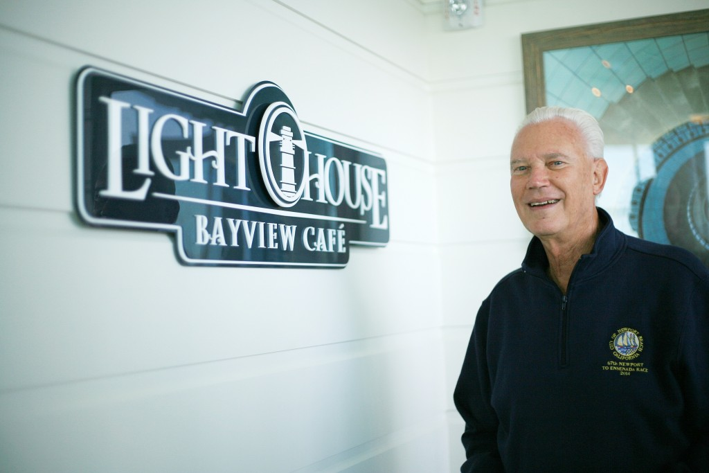 Former Mayor Rush Hill visits the Lighthouse Cafe during the Marina Park grand opening event. — Photo by Sara Hall ©