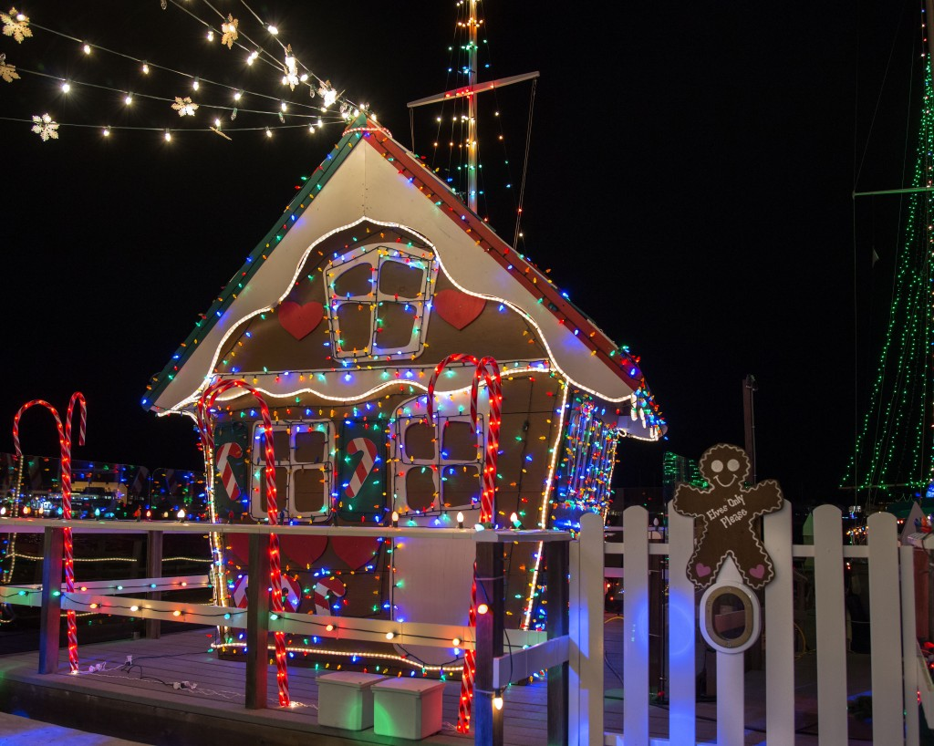 The life-size plywood gingerbread house on Vitarelli's dock. — Photo by Charles Weinberg ©