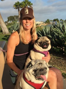 Charlie and Finley, both pugs, and human Jen McGilloway