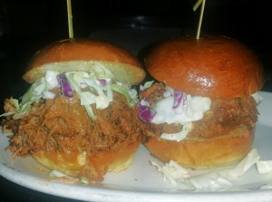 Pulled pork sliders at Lumberyard