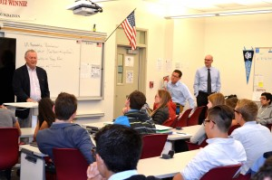Rep. Dana Rohrabacher, left, gives Laguna Beach High School students studying government an insider's view in June, joined by teacher Mark Alvarez and Principal Chris Herzfeld