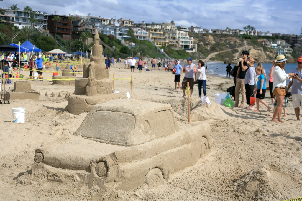 Cars and Castles were sculpted in the sand at Corona del Mar State Beach during the 54th Annual Sandcastle Contest, hosted by Newport Beach Chamber of Commerce Commodore's Club. — Photo by Sara Hall©