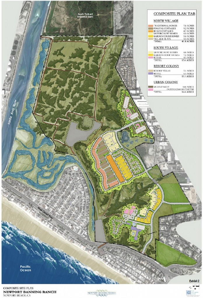 A composite site plan shows the controversial Banning Ranch development, which was presented to the California Coastal Commission on Oct. 7. Commissioners unanimously voted to postpone their decision and hear the project again in 90 days. — Photo courtesy the California Coastal Commission©