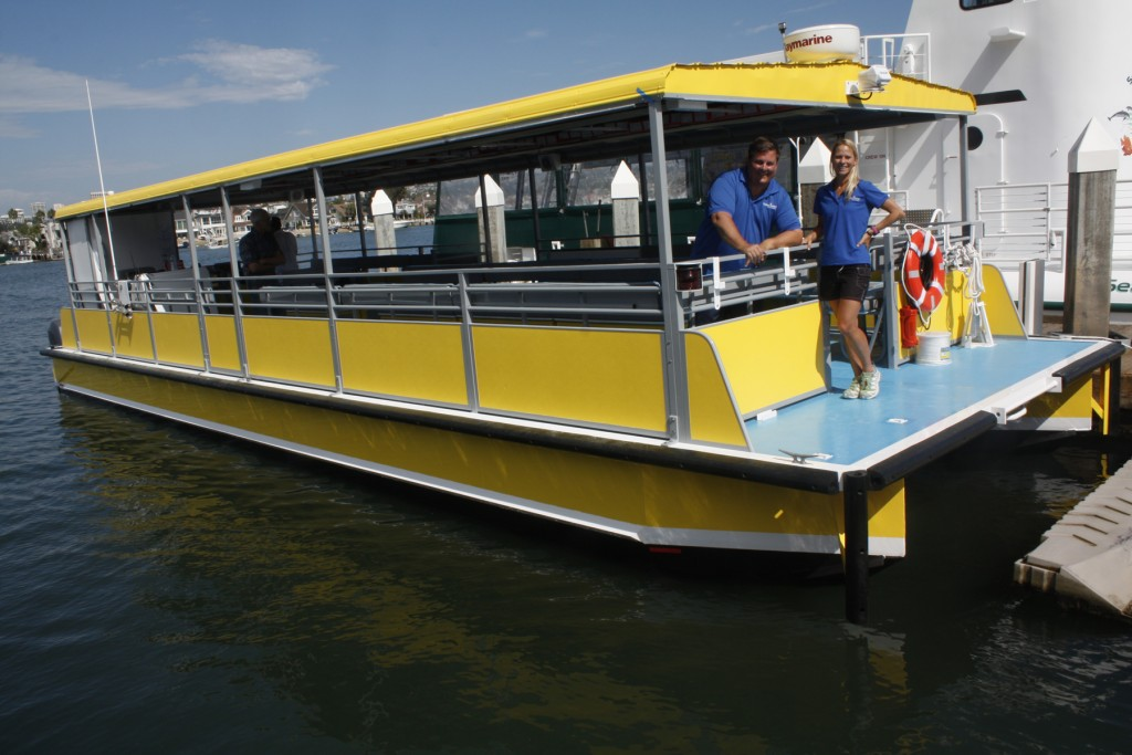 ExplorOcean's new catamaran will take students around the Newport bay while conducting marine-based science experiments. — Photo courtesy ExplorOcean©