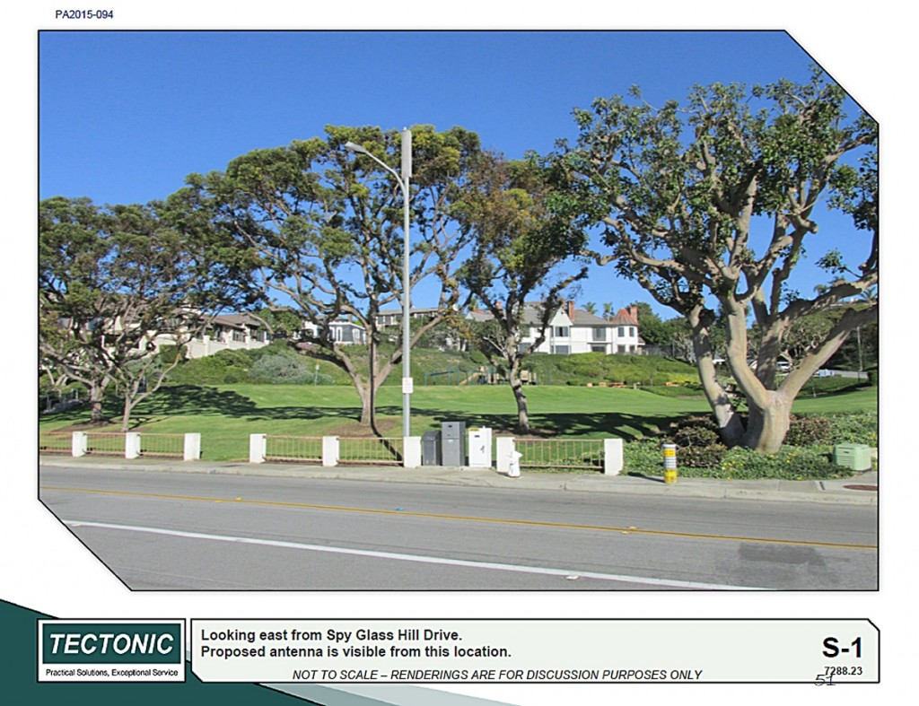 A rendering of the cell tower at the Spyglass Hill Park that Verizon presented to the Planning Commission. — Courtesy the city of Newport Beach