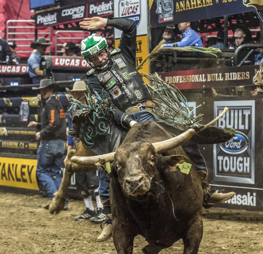 A rider hangs on tight as the bulls tries to kick him off his back. — Photo by Lawrence Sherwin ©