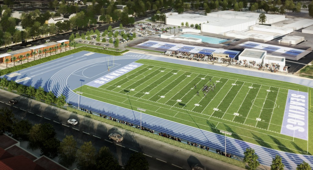 An artist rendering of the proposed Corona del Mar High School sports field. — Photo courtesy Newport-Mesa Unified School District ©
