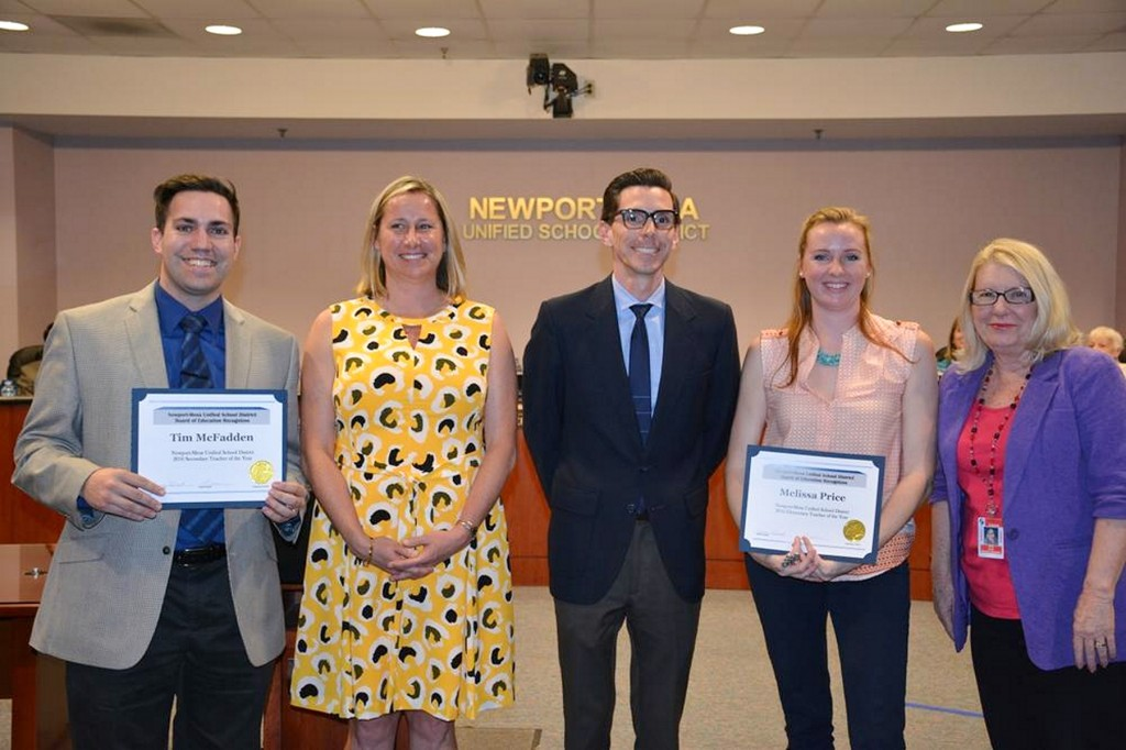 (left to right) Secondary Teacher of the Year Tim McFadden, TeWinkle Intermediate Principal Kira Hurst, Adams Elementary Principal Gabe Del Real, Elementary Teacher of the Year Melissa Price, and N-MUSD Board of Education Clerk Vicki Snell. — Photo courtesy NMUSD ©