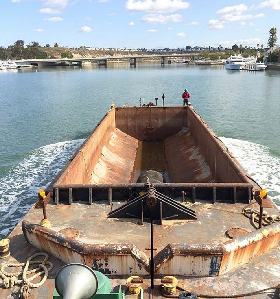 An example of the type of scow staff suggested the city consider purchasing for small dredging projects in Newport Harbor. — Photo courtesy city of Newport Beach ©