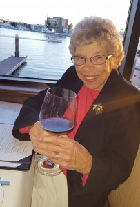 Virginia drinking Tobin James zinfandel at The Winery