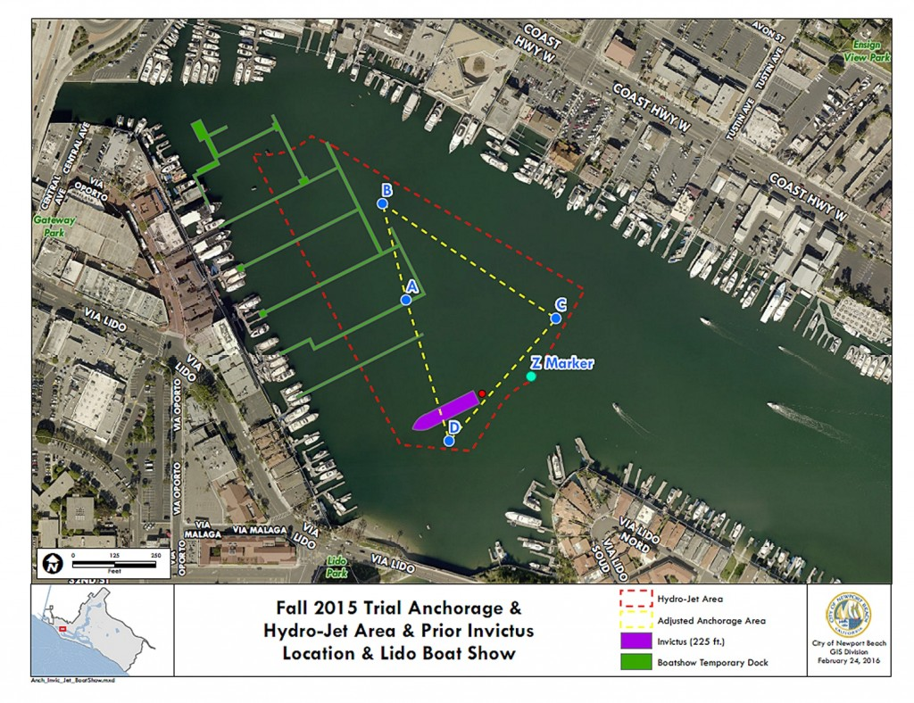 A map shows the outline of the trial anchorage area previously approved by City Council along with the hydro-jet area, prior Invictus location, and Lido Boat Show area. — Photo courtesy city of Newport Beach ©