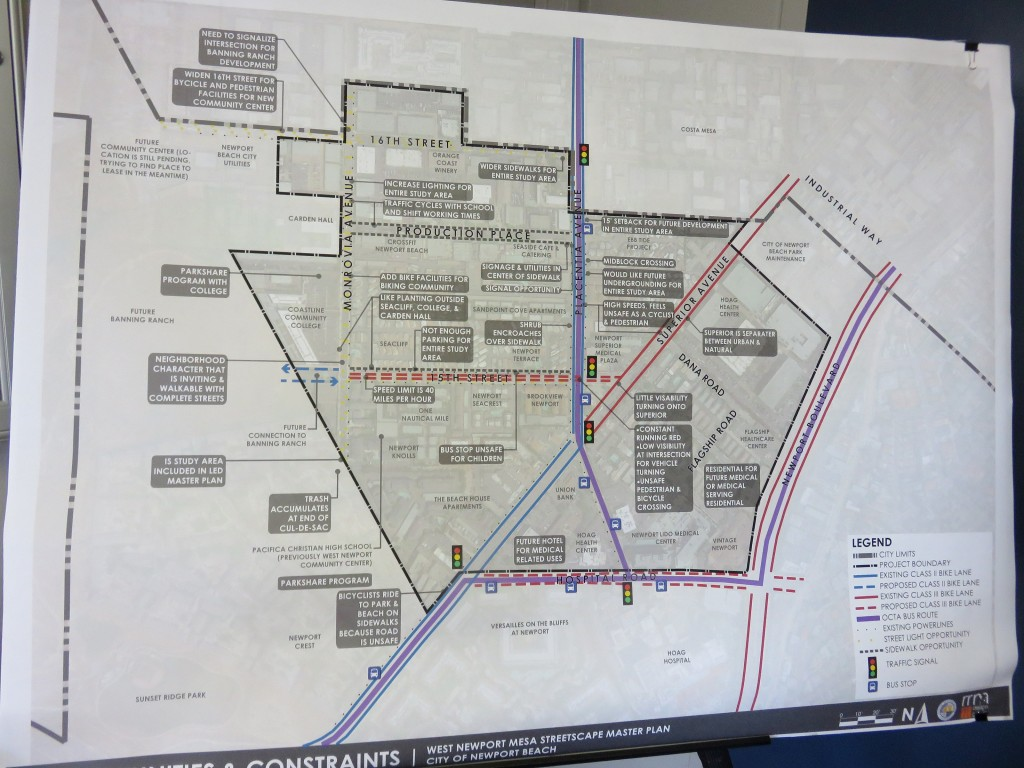 Concerns are mapped out in a diagram displayed Wednesday at the meeting for the West Newport Mesa Streetscape Master Plan. — Photo by Sara Hall ©
