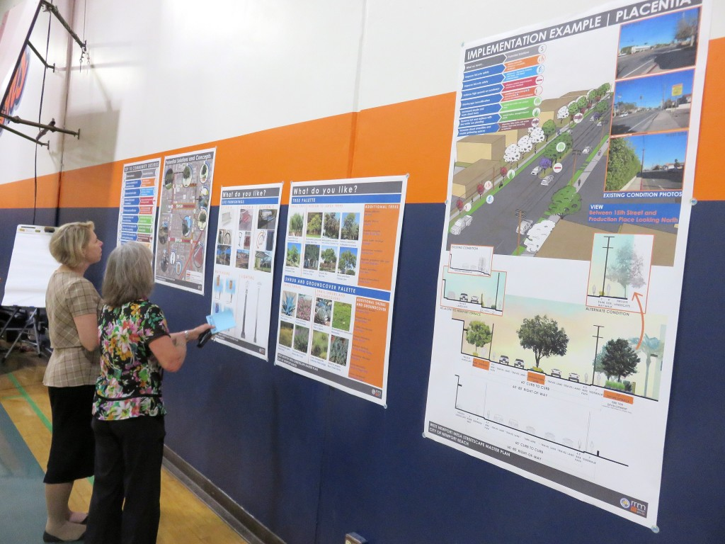 Resident Dorothy Kraus (right) and Newport Beach Community Development Director Kim Brandt look at examples for possible elements in the West Newport Mesa Streetscape Master Plan during a public workshop on Wednesday. — Photo by Sara Hall ©