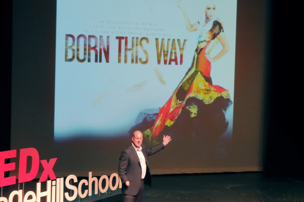 Jim Abbott, former professional baseball player and Olympian who was born without a right hand, speaks during Sage Hill School's Tedx talk on Friday. — Photo by Elizabeth Greenberg ©