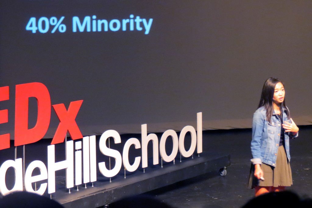 Sage Hill senior Amanda Ong, an activist on the subject of racial representation in the media, speaks during Sage Hill School's Tedx talk on Friday. — Photo by Elizabeth Greenberg ©