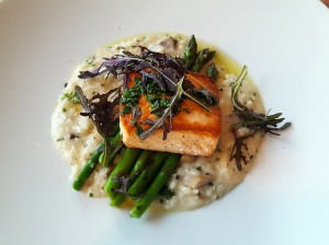 """Tomorrow is a Latter Day"" wild isle salmon with forest mushroom risotto, asparagus and chives"