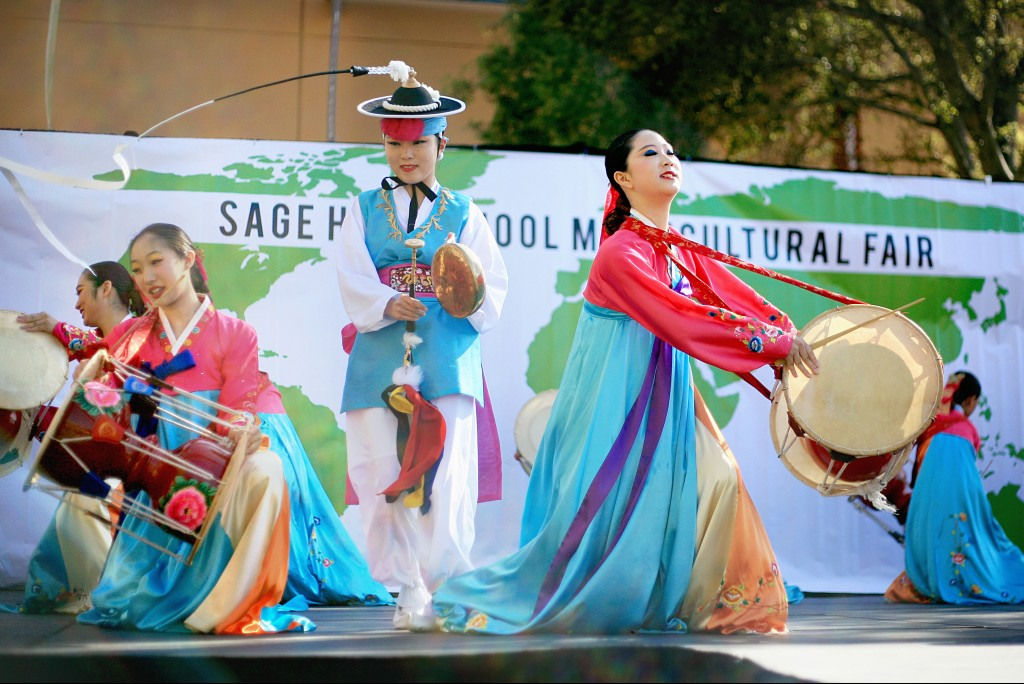 Korean Nongak dancers from KAYPA perform during the 15th Annual Sage Hill Multicultural Fair on Saturday. — Photo by Sara Hall ©