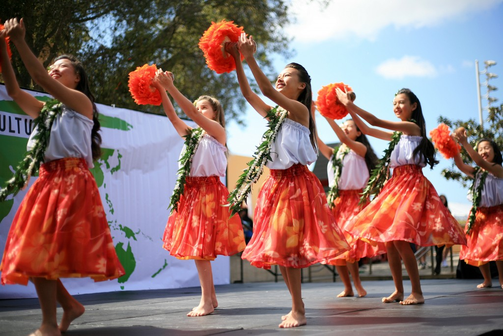 Dancers from Halau Hula Lani Ola perform during the 15th Annual Sage Hill Multicultural Fair on Saturday. — Photo by Sara Hall ©