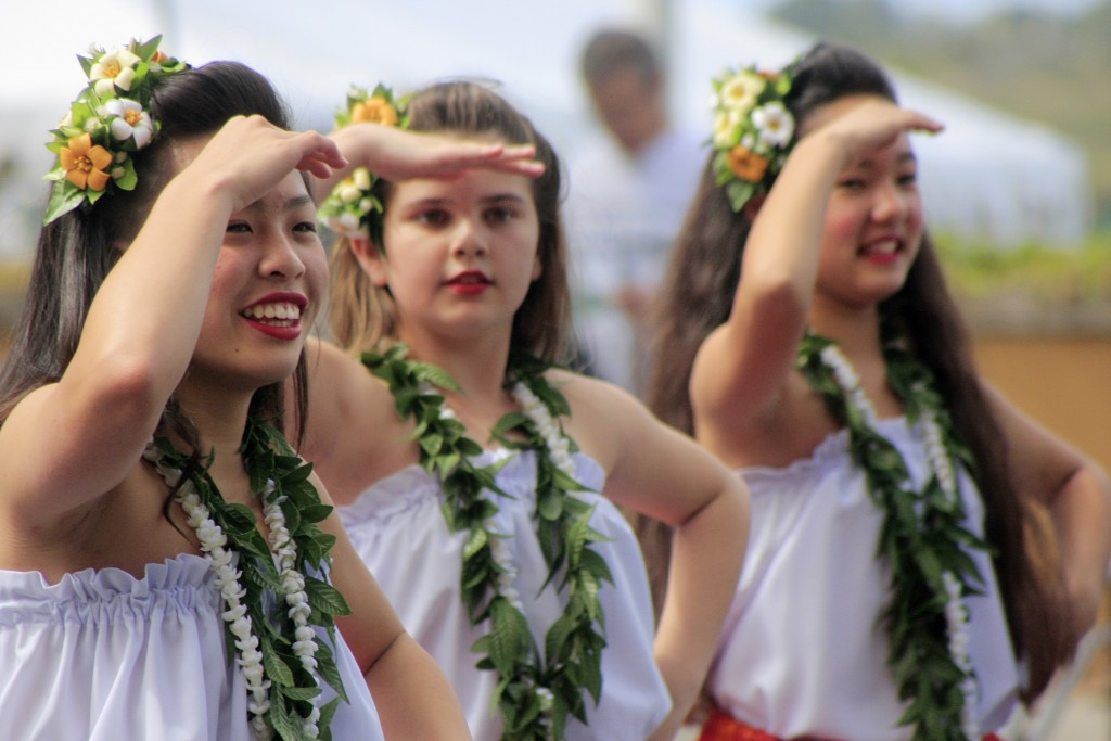 Dancers from Halau Hula Lani Ola perform a traditional Hawaiian dance during the event. — Photo by Sara Hall ©