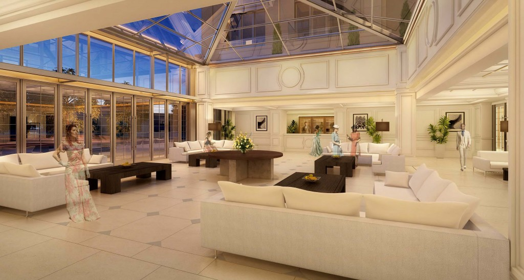 An artist's rendering of the interior of 150 Newport Center. — Photo illustration courtesy MVE + Partners, Inc. ©