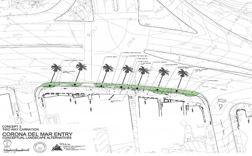 The conceptual drawing of the landscape plan for the CdM Entrway project. — Photo courtesy the city of Newport Beach ©