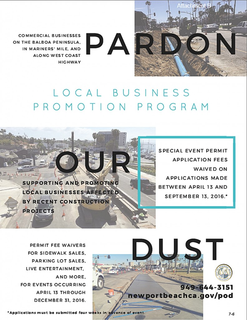 "The city's ""Pardon Our Dust"" program poster. — Illustration courtesy city of Newport Beach ©"