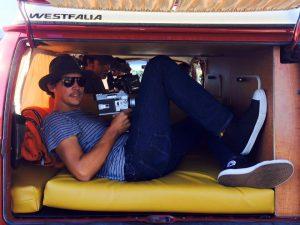 "Kirkley on the set of ""Orange Sunshine"""