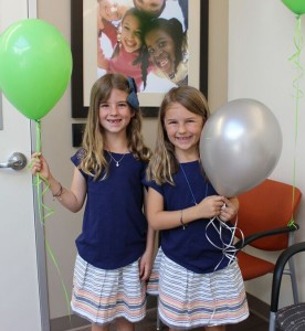 First patients at the dental center were twins Finah and Rosemary, age 7. — Photo courtesy SOS Dental Center ©