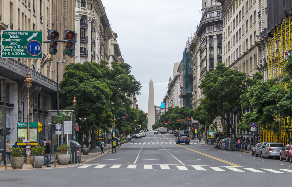 Central Buenos Aires looking toward the landmark Obelisk. — Photo by Lawrence Sherwin ©