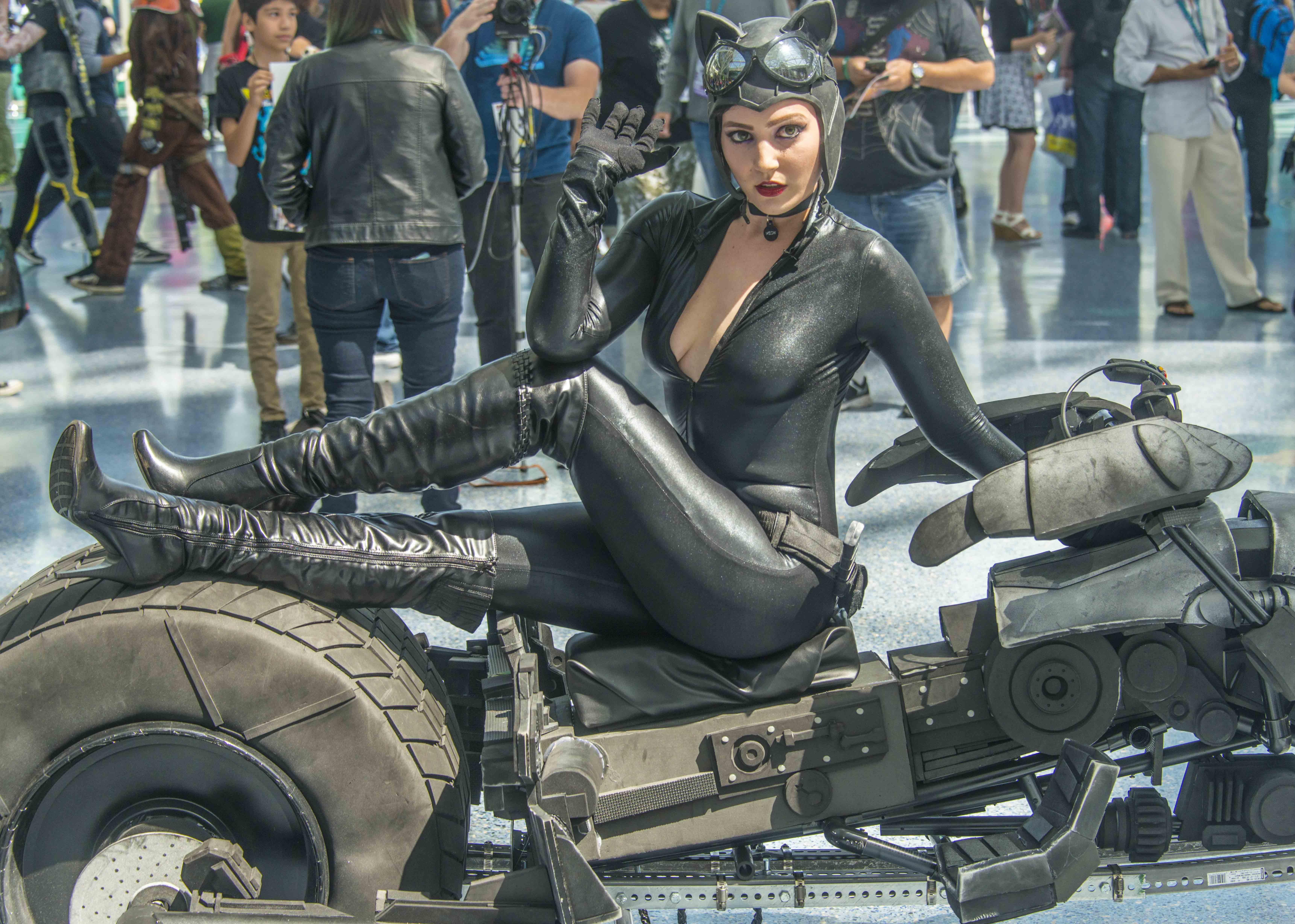 Catwoman astride batman's motorcycle. — Photo by Lawrence Sherwin ©