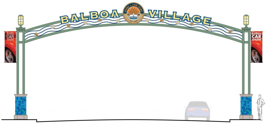 An artist's rendering of the Balboa Village arch. — Courtesy city of Newport Beach ©