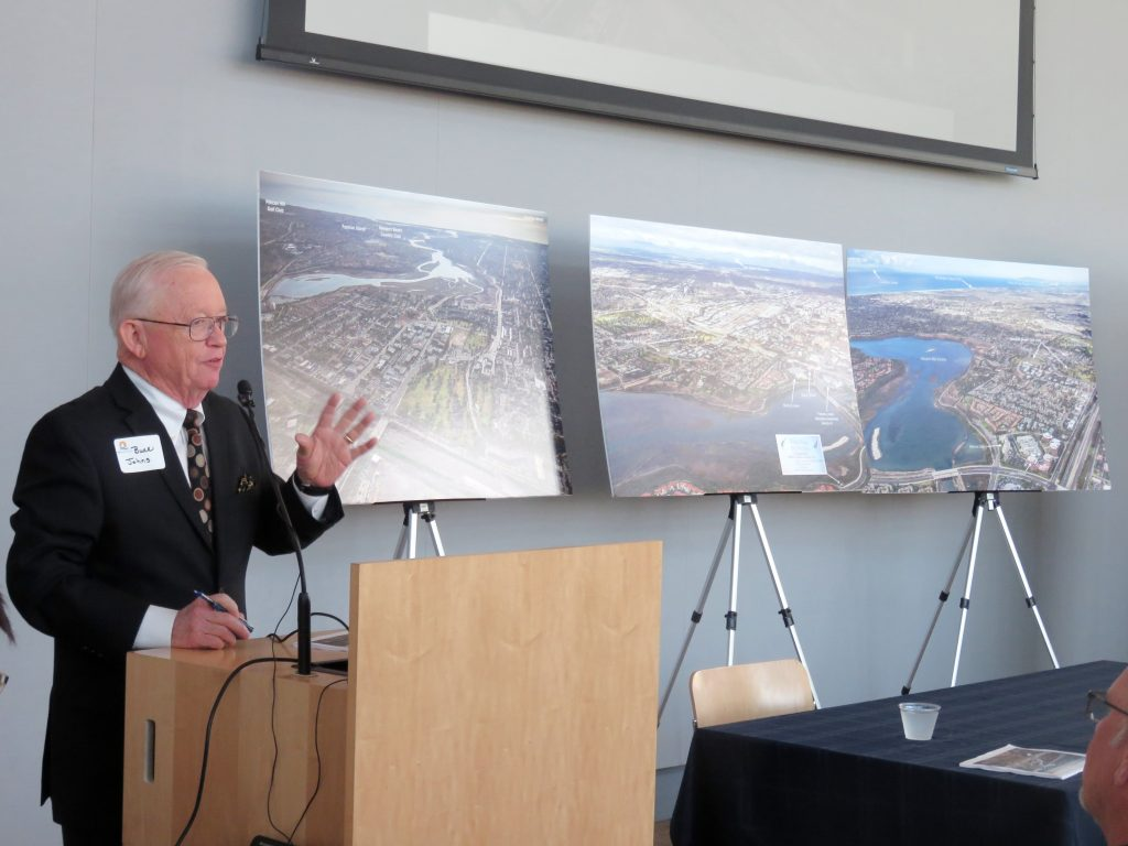 Buck Johns, who represents the Newport Beach Golf Club's new ownership group, speaks about the changes and how they can help prevent airport expansion during the recent Speak Up Newport meeting. — Photo by Sara Hall©