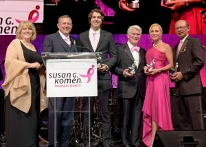 Susan G. Komen Orange County Board President Gretchen Valentine with 2016 Pink Tie Ball co-chairs Harald Herrmann, Austin Herrmann, Denis Kalscheur, Julie Ann Ulcickas, and Khanh T. Tran
