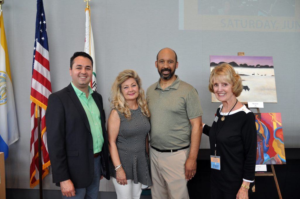 Mayor Pro Tem Kevin Muldoon, Arlene Greer (Chair, City Arts Commission), Joseph Lewis III (judge for the exhibition), Caroline Logan, City Arts Commission. — Photo courtesy the city of Newport Beach ©