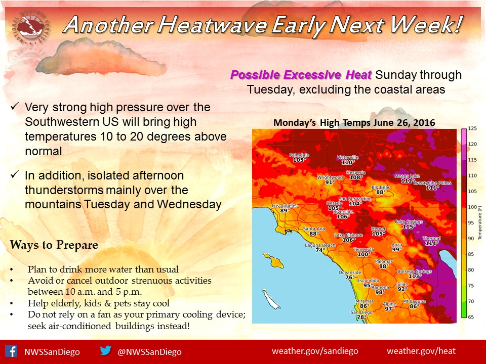 A heat wave warning for next week from the National Weather Service. — Photo courtesy National Weather Service ©