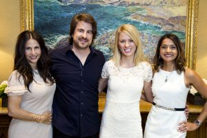 Event co‐chair Carey Clawson (of Newport Beach), event speaker Jimmy Wayne, Orangewood youth speaker Sascha, and event cochair Sona Shah