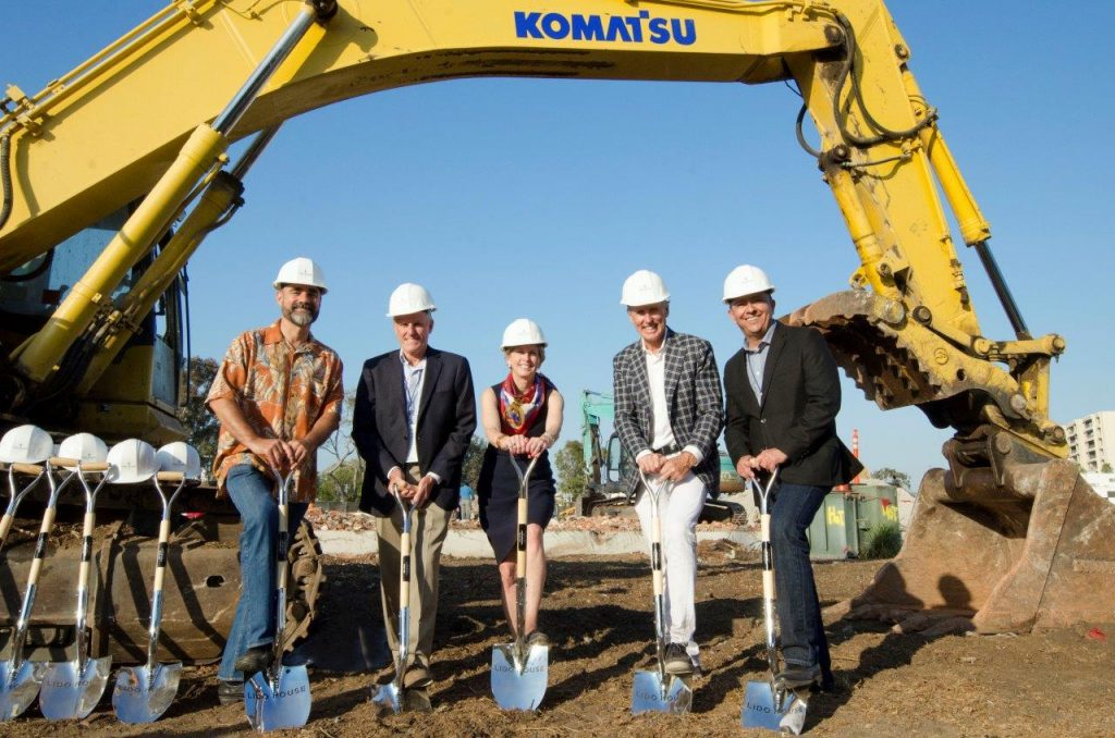 Officials break ground on Lido House Hotel on the Balboa Peninsula last week, (left to right) Martin Deidrich, Founder of Kean Coffee; Ian Gardiner, Executive Vice President of R.D. Olson Construction; Diane Dixon, Mayor of Newport Beach; Bob Olson, President & CEO of R.D. Olson Development; and Greg Villegas, Associate Vice President of WATG. — Photo courtesy R.D. Olson Development ©