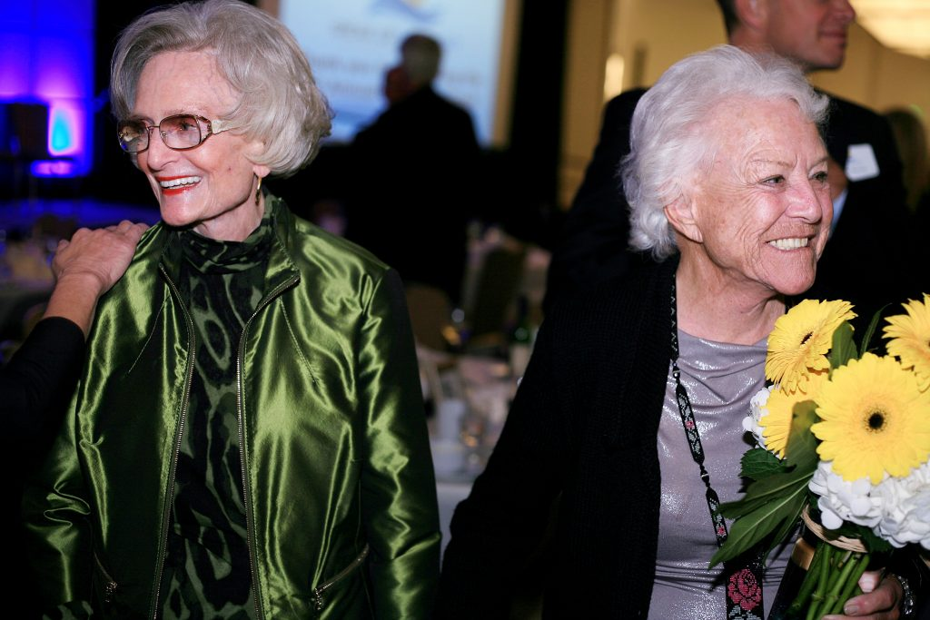 Marian Bergeson (left) and her good friend and former Newport Beach mayor Evelyn Hart speak with guests after Speak Up Newport's 35th Mayor's Dinner in February. — Photo by Sara Hall ©