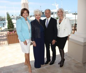 Event co-chairs Donna Calvert and Donna Bunce, Outgoing Chapman University President Dr. Jim Doti, and Women of Chapman President Barbara Eidson