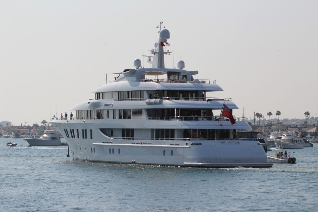 "The mega yacht ""Invictus"" has returned to Newport Harbor. — Photo by Steve Barrett ©"
