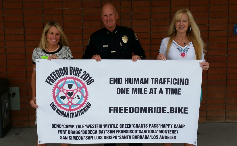 "(left to right) Freedom Ride Founder and Director Elisabeth ""Beth"" Gegner, NBPD Deputy Chief David McGill, and Action Force Network President Veronica Stephens. — Photo courtesy Elisabeth Gegner ©"