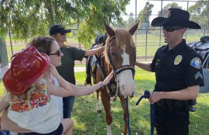 NBPD Officer Shaun Dugan and his horse Levi greet the public at National Night Out